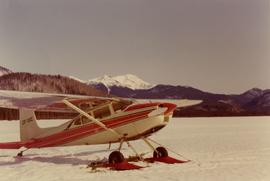 Airplane on snow covered Weissner Lake
