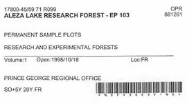 Aleza Lake Research Forest - Growth & Yield 59-71-R 97 - Experimental Plot 103