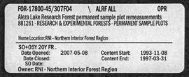 Aleza Lake Research Forest Permanent Sample Plot Remeasurements - Volume 4