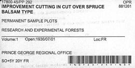 PP 292 - Improvement Cutting in Cut Over Spruce-Balsam Types