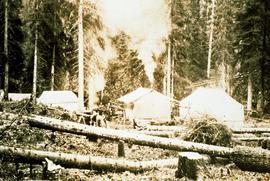 Aleza Lake Experiment Station camp with removal of logs and debris still in progress