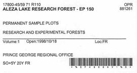 Aleza Lake Research Forest - Growth & Yield 59-71-R 97 - Experimental Plot 150