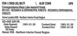Correspondence - Aleza Lake Research Forest