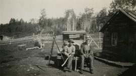 Jack Lee and Gordon Wyness with survey equipment on reserve