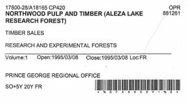 Timber Sale Licence - Northwood Pulp and Timber Limited (A18165 CP420)