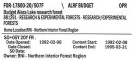 Budget - Aleza Lake Research Forest