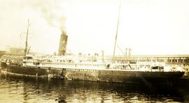 S.S. Tahali Canadian-Australian steamship at CPR Pier B and C in Vancouver