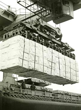 Bundles of pulp bales loaded onto a ship