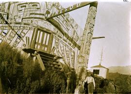 Chief's lodge and totem, Nass River, BC