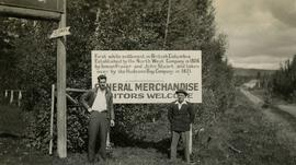 Gordon Wyness and Jack Lee at Fort St. James sign