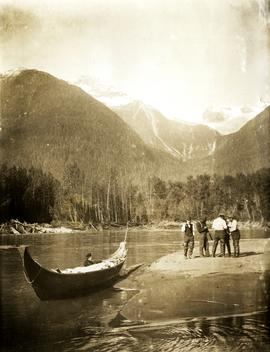 Marion Collison in canoe en route to Hazelton, BC