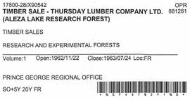 Timber Sale Licence - Thursday Lumber Company (X90542)