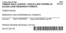Timber Sale Licence - Eagle Lake Sawmill (X37528)