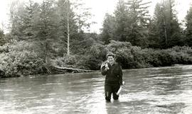 Joyce Collison standing in river at Kincolith, BC