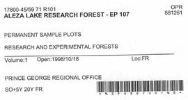 Aleza Lake Research Forest - Growth & Yield 59-71-R 101 - Experimental Plot 107