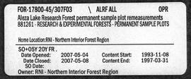 Aleza Lake Research Forest Permanent Sample Plot Remeasurements - Volume 3