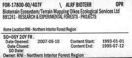 Bioterrain Ecosystem/Terrain Mapping Oikos Ecological Services Ltd