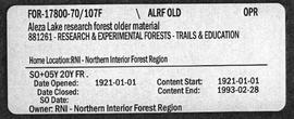 Aleza Lake Research Forest - Trails & Education - Older Material