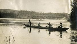 Canoes leaving mouth of Nechako River for Ton A Qua