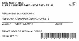 Aleza Lake Research Forest - Growth & Yield - Experimental Plot 148