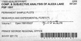 Compilation and Subjective Analysis of Aleza Lake Permanent Sample Plots 1991