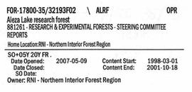Steering Committee Reports - Aleza Lake Research Forest - Volume 2