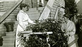 Bertha Collison with her sister Rose at Collison home in Prince Rupert, BC