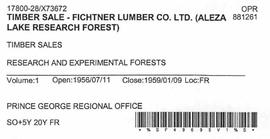 Timber Sale Licence - Fichtner Lumber Company Limited (X73672)