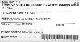 PP 119 - Study of Rate and Reproduction After Logging
