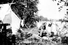 Braham Griffith at fly camp on the Fraser River near Willow River area