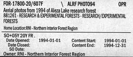 Aerial Photos from 1994 of Aleza Lake Research Forest