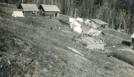 Outbuildings and camp near Sutherland Creek