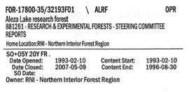 Steering Committee Reports - Aleza Lake Research Forest - Volume 1