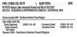 M PSYU Aleza Lake Research Forest Old File #051597