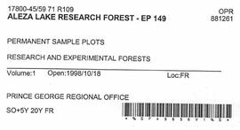 Aleza Lake Research Forest - Growth & Yield - Experimental Plot 149