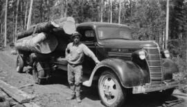 Cornel Neronovitch with 'Maple Leaf' Chevrolet logging truck