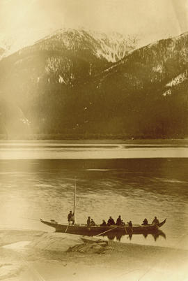 Marion and W.H. Collison travelling with friends in canoe up Skeena River