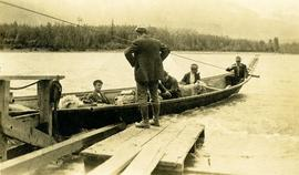 Men in freight canoe on Skeena River