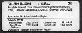 Aleza Lake Research Forest Permanent Sample Plot Remeasurements - Volume 2