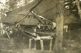 Cook tent on Sunday in camp in the Chilcotin