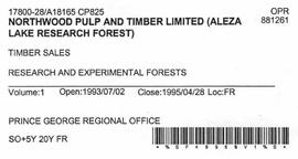 Timber Sale Licence - Northwood Pulp and Timber Limited (A18165 CP825)