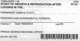 PP 118 - Study of Growth and Reproduction After Logging