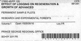 PP 120 - Effect of Logging on Regeneration and Growth of Advanced
