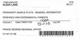 Aleza Lake Research Forest - Permanent Sample Plots - General Information