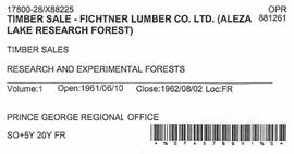 Timber Sale Licence - Fichtner Lumber Company Limited (X88225)
