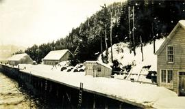 Snow covered wharf at Nass Harbour