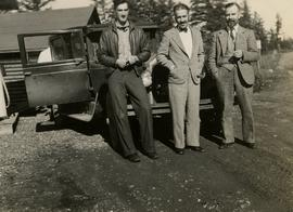 Gordon Wyness, Louis LeBourdais, and Earl Malcolm at Twilight Lodge