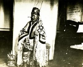 Nisga'a chief wearing robes and head-dress