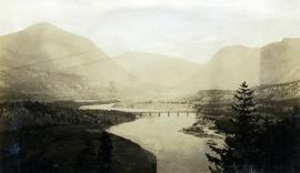 Pacific Great Eastern Railway bridge across Fraser River at Lillooet