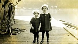 Two children on a dock